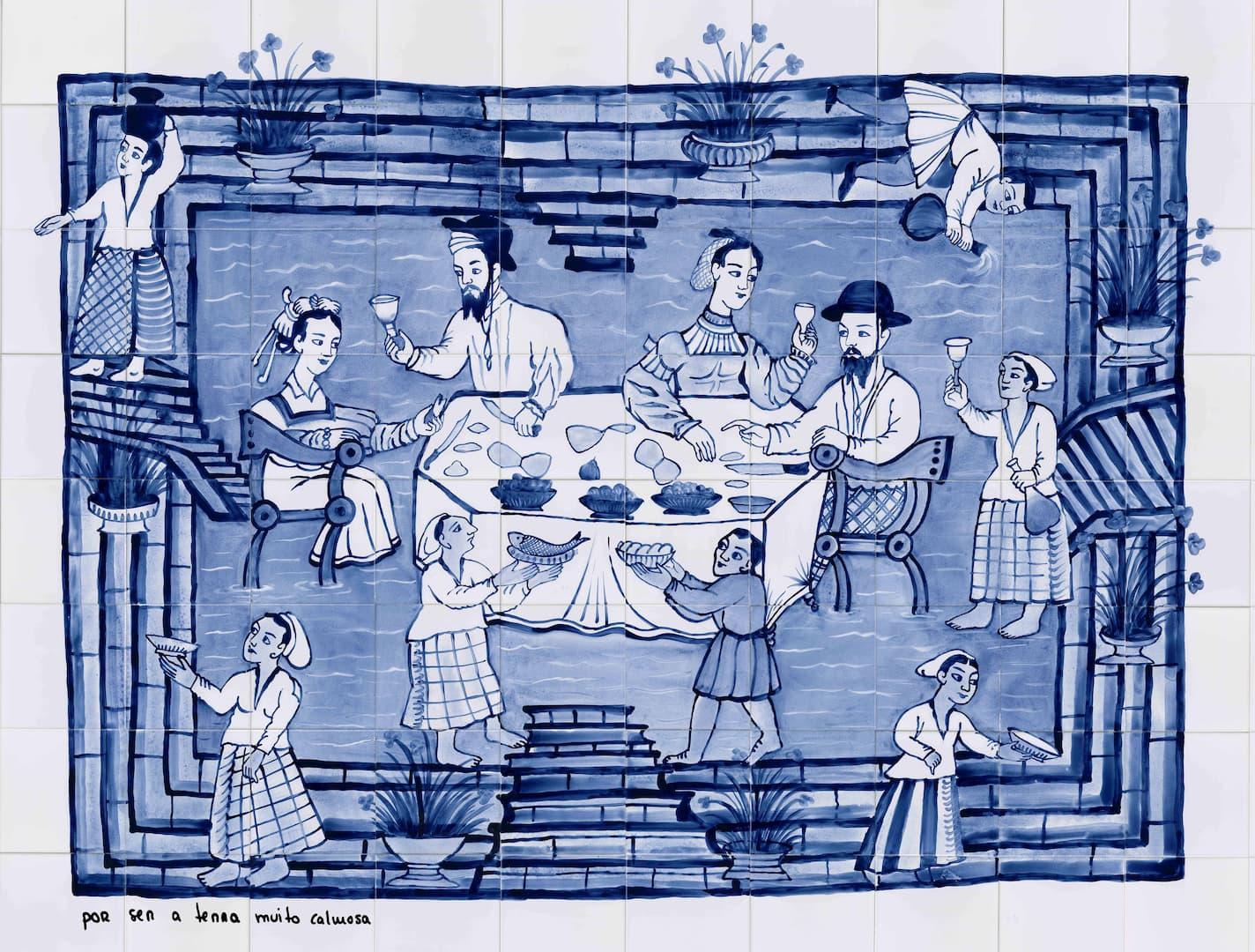 Painel de azulejos que retrata pessoas numa mesa posta com tons azuis.